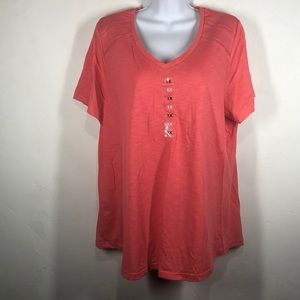 NWT Northcrest coral v-neck tee size 1X
